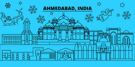India, Ahmedabad winter holidays skyline. Merry Christmas, Happy New Year decorated banner with Santa Claus.Flat, outline vector.India, Ahmedabad linear christmas city illustration Illustration