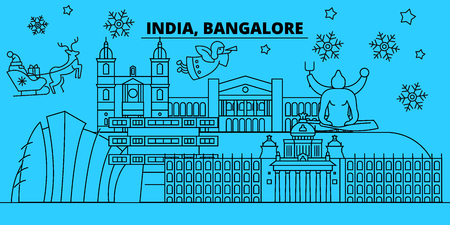 India, Bangalore winter holidays skyline. Merry Christmas, Happy New Year decorated banner with Santa Claus.Flat, outline vector.India, Bangalore linear christmas city illustration