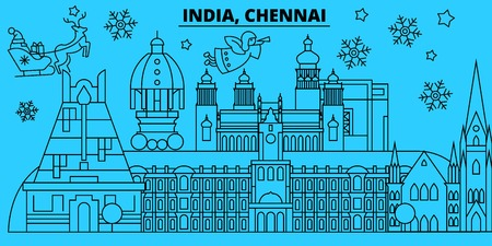 India, Chennai winter holidays skyline. Merry Christmas, Happy New Year decorated banner with Santa Claus.Flat, outline vector.India, Chennai linear christmas city illustration Illustration