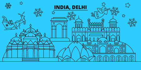 India, Delhi winter holidays skyline. Merry Christmas, Happy New Year decorated banner with Santa Claus.Flat, outline vector.India, Delhi linear christmas city illustration
