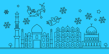 India, Delhi city winter holidays skyline. Merry Christmas, Happy New Year decorated banner with Santa Claus.Flat, outline vector.India, Delhi city linear christmas city illustration