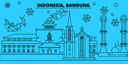 Indonesia, Bandung winter holidays skyline. Merry Christmas, Happy New Year decorated banner with Santa Claus.Flat, outline vector.Indonesia, Bandung linear christmas city illustration Illustration