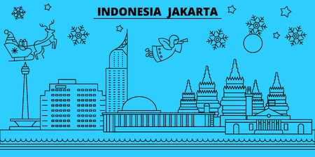 Indonesia, Jakarta winter holidays skyline. Merry Christmas, Happy New Year decorated banner with Santa Claus.Flat, outline vector.Indonesia, Jakarta linear christmas city illustration