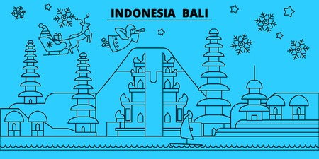 Indonesia, Bali winter holidays skyline. Merry Christmas, Happy New Year decorated banner with Santa Claus.Flat, outline vector.Indonesia, Bali linear christmas city illustration Illustration