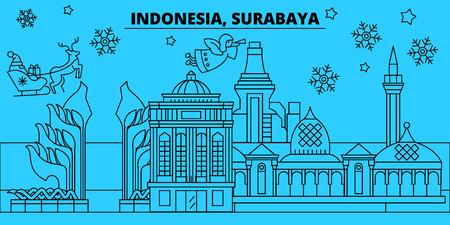 Indonesia, Surabaya winter holidays skyline. Merry Christmas, Happy New Year decorated banner with Santa Claus.Flat, outline vector.Indonesia, Surabaya linear christmas city illustration