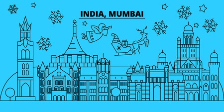 India, Mumbai winter holidays skyline. Merry Christmas, Happy New Year decorated banner with Santa Claus.Flat, outline vector.India, Mumbai linear christmas city illustration
