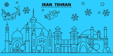 Iran, Tehran winter holidays skyline. Merry Christmas, Happy New Year decorated banner with Santa Claus.Flat, outline vector.Iran, Tehran linear christmas city illustration 일러스트