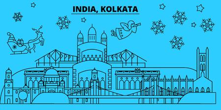 India, Kolkata winter holidays skyline. Merry Christmas, Happy New Year decorated banner with Santa Claus.Flat, outline vector.India, Kolkata linear christmas city illustration