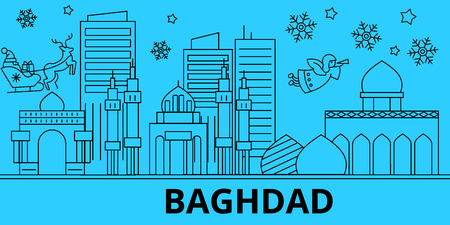 Iraq, Baghdad winter holidays skyline. Merry Christmas, Happy New Year decorated banner with Santa Claus.Flat, outline vector.Iraq, Baghdad linear christmas city illustration