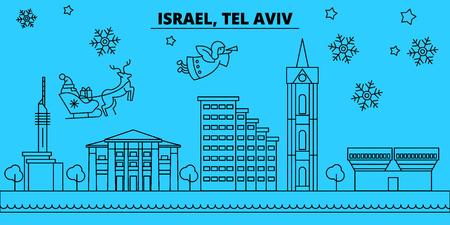 Israel, Tel aviv winter holidays skyline. Merry Christmas, Happy New Year decorated banner with Santa Claus.Flat, outline vector.Israel, Tel aviv linear christmas city illustration Illustration