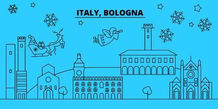 Italy, Bologna winter holidays skyline. Merry Christmas, Happy New Year decorated banner with Santa Claus.Flat, outline vector.Italy, Bologna linear christmas city illustration