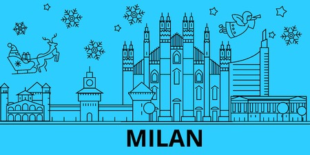 Italy, Milan winter holidays skyline. Merry Christmas, Happy New Year decorated banner with Santa Claus.Flat, outline vector.Italy, Milan linear christmas city illustration