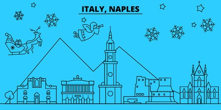 Italy, Naples winter holidays skyline. Merry Christmas, Happy New Year decorated banner with Santa Claus.Flat, outline vector.Italy, Naples linear christmas city illustration