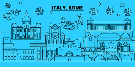 Italy, Rome city winter holidays skyline. Merry Christmas, Happy New Year decorated banner with Santa Claus.Flat, outline vector.Italy, Rome city linear christmas city illustration Ilustração