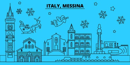 Italy, Messina winter holidays skyline. Merry Christmas, Happy New Year decorated banner with Santa Claus.Flat, outline vector.Italy, Messina linear christmas city illustration