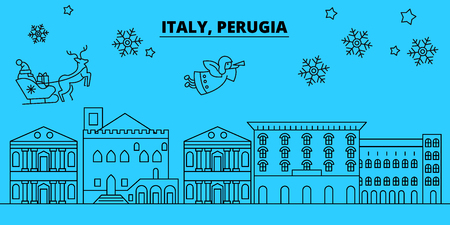 Italy, Perugia winter holidays skyline. Merry Christmas, Happy New Year decorated banner with Santa Claus.Flat, outline vector.Italy, Perugia linear christmas city illustration