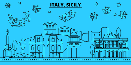 italy, Sicily winter holidays skyline. Merry Christmas, Happy New Year decorated banner with Santa Claus.Flat, outline vector.italy, Sicily linear christmas city illustration