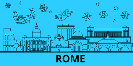 Italy, Rome winter holidays skyline. Merry Christmas, Happy New Year decorated banner with Santa Claus.Flat, outline vector.Italy, Rome linear christmas city illustration