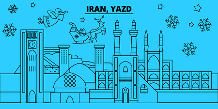 Iran, Yazd winter holidays skyline. Merry Christmas, Happy New Year decorated banner with Santa Claus.Iran, Yazd linear christmas city vector flat illustration 向量圖像
