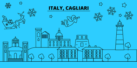 Italy, Cagliari winter holidays skyline. Merry Christmas, Happy New Year decorated banner with Santa Claus.Flat, outline vector.Italy, Cagliari linear christmas city illustration