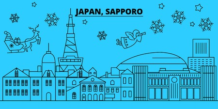 Japan, Sapporo winter holidays skyline. Merry Christmas, Happy New Year decorated banner with Santa Claus.Flat, outline vector.Japan, Sapporo linear christmas city illustration