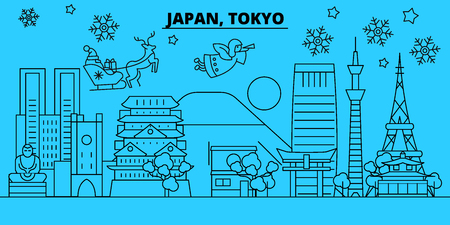 Japan, Tokyo city winter holidays skyline. Merry Christmas, Happy New Year decorated banner with Santa Claus.Flat, outline vector.Japan, Tokyo city linear christmas city illustration