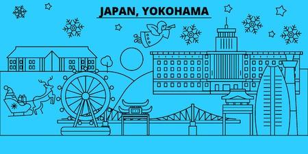 Japan, Yokohama winter holidays skyline. Merry Christmas, Happy New Year decorated banner with Santa Claus.Flat, outline vector.Japan, Yokohama linear christmas city illustration