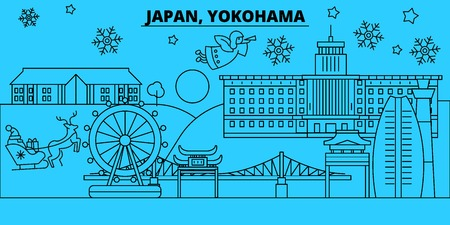 Japan, Yokohama winter holidays skyline. Merry Christmas, Happy New Year decorated banner with Santa Claus.Flat, outline vector.Japan, Yokohama linear christmas city illustration