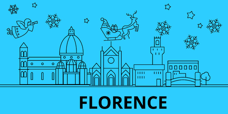 Italy, Florence winter holidays skyline. Merry Christmas, Happy New Year decorated banner with Santa Claus.Flat, outline vector.Italy, Florence linear christmas city illustration