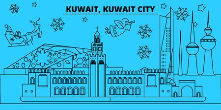 Kuwait City winter holidays skyline. Merry Christmas, Happy New Year decorated banner with Santa Claus.Kuwait City linear christmas city vector flat illustration Illustration