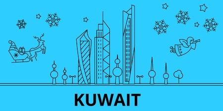 Kuwait winter holidays skyline. Merry Christmas, Happy New Year decorated banner with Santa Claus.Flat, outline vector.Kuwait linear christmas city illustration