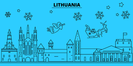 Lithuania winter holidays skyline. Merry Christmas, Happy New Year decorated banner with Santa Claus.Flat, outline vector.Lithuania linear christmas city illustration