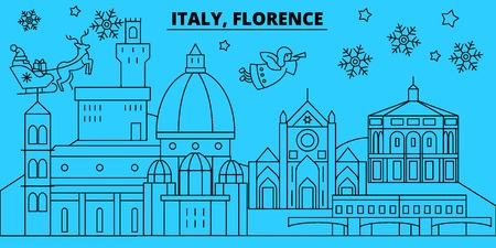 Italy, Florence city winter holidays skyline. Merry Christmas, Happy New Year decorated banner with Santa Claus.Flat, outline vector.Italy, Florence city linear christmas city illustration