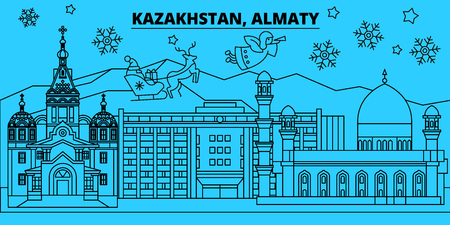 Kazakhstan, Almaty winter holidays skyline. Merry Christmas, Happy New Year decorated banner with Santa Claus.Flat, outline vector.Kazakhstan, Almaty linear christmas city illustration