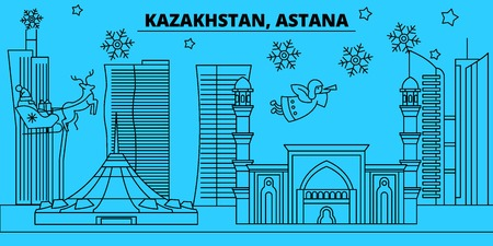 Kazakhstan, Astana winter holidays skyline. Merry Christmas, Happy New Year decorated banner with Santa Claus.Flat, outline vector.Kazakhstan, Astana linear christmas city illustration