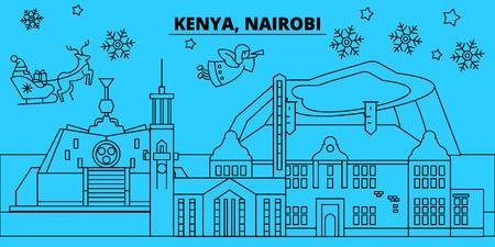 Kenya, Nairobi winter holidays skyline. Merry Christmas, Happy New Year decorated banner with Santa Claus.Kenya, Nairobi linear christmas city vector flat illustration