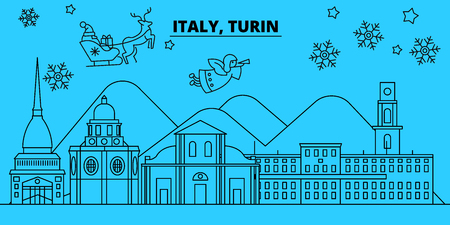 Italy, Turin winter holidays skyline. Merry Christmas, Happy New Year decorated banner with Santa Claus.Flat, outline vector.Italy, Turin linear christmas city illustration