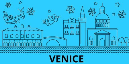 Italy, Venice winter holidays skyline. Merry Christmas, Happy New Year decorated banner with Santa Claus.Flat, outline vector.Italy, Venice linear christmas city illustration Ilustracja