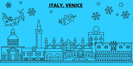 Italy, Venice city winter holidays skyline. Merry Christmas, Happy New Year decorated banner with Santa Claus.Flat, outline vector.Italy, Venice city linear christmas city illustration Vettoriali