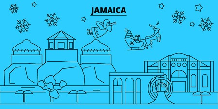Jamaica winter holidays skyline. Merry Christmas, Happy New Year decorated banner with Santa Claus.Flat, outline vector.Jamaica linear christmas city illustration