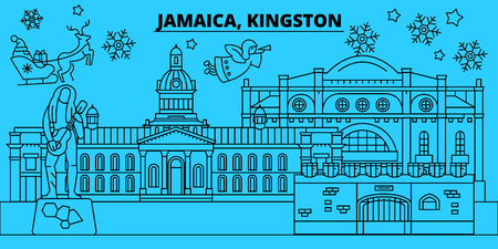 Jamaica, winter holidays skyline. Merry Christmas, Happy New Year decorated banner with Santa Claus.Flat, outline vector.Jamaica, linear christmas city illustration