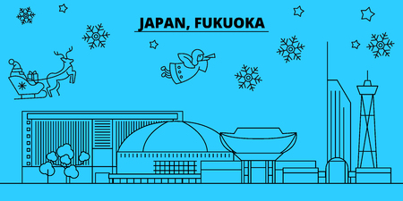 Japan, Fukuoka winter holidays skyline. Merry Christmas, Happy New Year decorated banner with Santa Claus.Flat, outline vector.Japan, Fukuoka linear christmas city illustration Illustration