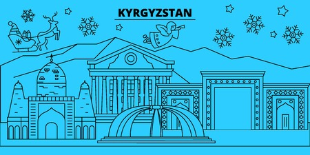 Kyrgyzstan winter holidays skyline. Merry Christmas, Happy New Year decorated banner with Santa Claus.Flat, outline vector.Kyrgyzstan linear christmas city illustration Illustration