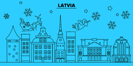 Latvia winter holidays skyline. Merry Christmas, Happy New Year decorated banner with Santa Claus.Flat, outline vector.Latvia linear christmas city illustration
