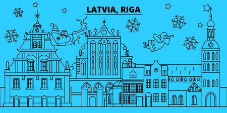 Latvia, Riga winter holidays skyline. Merry Christmas, Happy New Year decorated banner with Santa Claus.Flat, outline vector.Latvia, Riga linear christmas city illustration