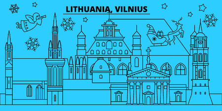 Lithuania, Vilnius winter holidays skyline. Merry Christmas, Happy New Year decorated banner with Santa Claus.Flat, outline vector.Lithuania, Vilnius linear christmas city illustration