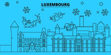 Luxembourg winter holidays skyline. Merry Christmas, Happy New Year decorated banner with Santa Claus.Flat, outline vector.Luxembourg linear christmas city illustration Vectores
