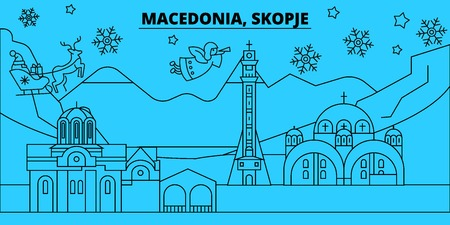 Macedonia, Skopje winter holidays skyline. Merry Christmas, Happy New Year decorated banner with Santa Claus.Flat, outline vector.Macedonia, Skopje linear christmas city illustration Stockfoto - 127334972