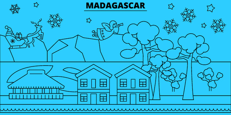 Madagascar winter holidays skyline. Merry Christmas, Happy New Year decorated banner with Santa Claus.Flat, outline vector.Madagascar linear christmas city illustration