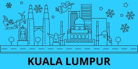 Malaysia, Kuala lumpur winter holidays skyline. Merry Christmas, Happy New Year decorated banner with Santa Claus.Flat, outline vector.Malaysia, Kuala lumpur linear christmas city illustration